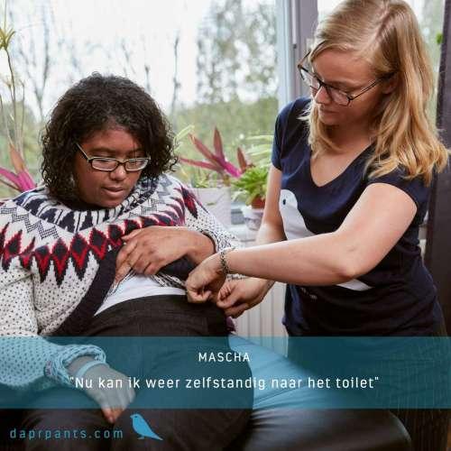 Mascha kan dankzij de aangepaste broek weer zelfstandig naar het toilet. Daarmee is haar zelfredzaamheid en eigenwaarde gegroeid.